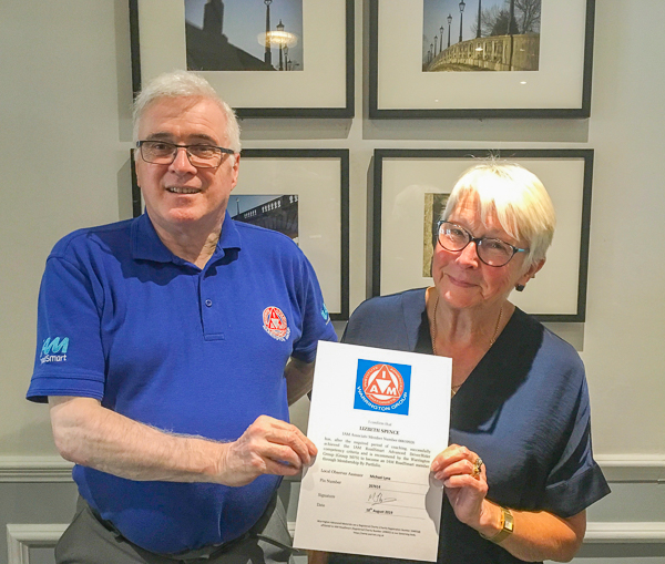 Liz Spence receiving her recommendation for IAM RoadSmart Membership